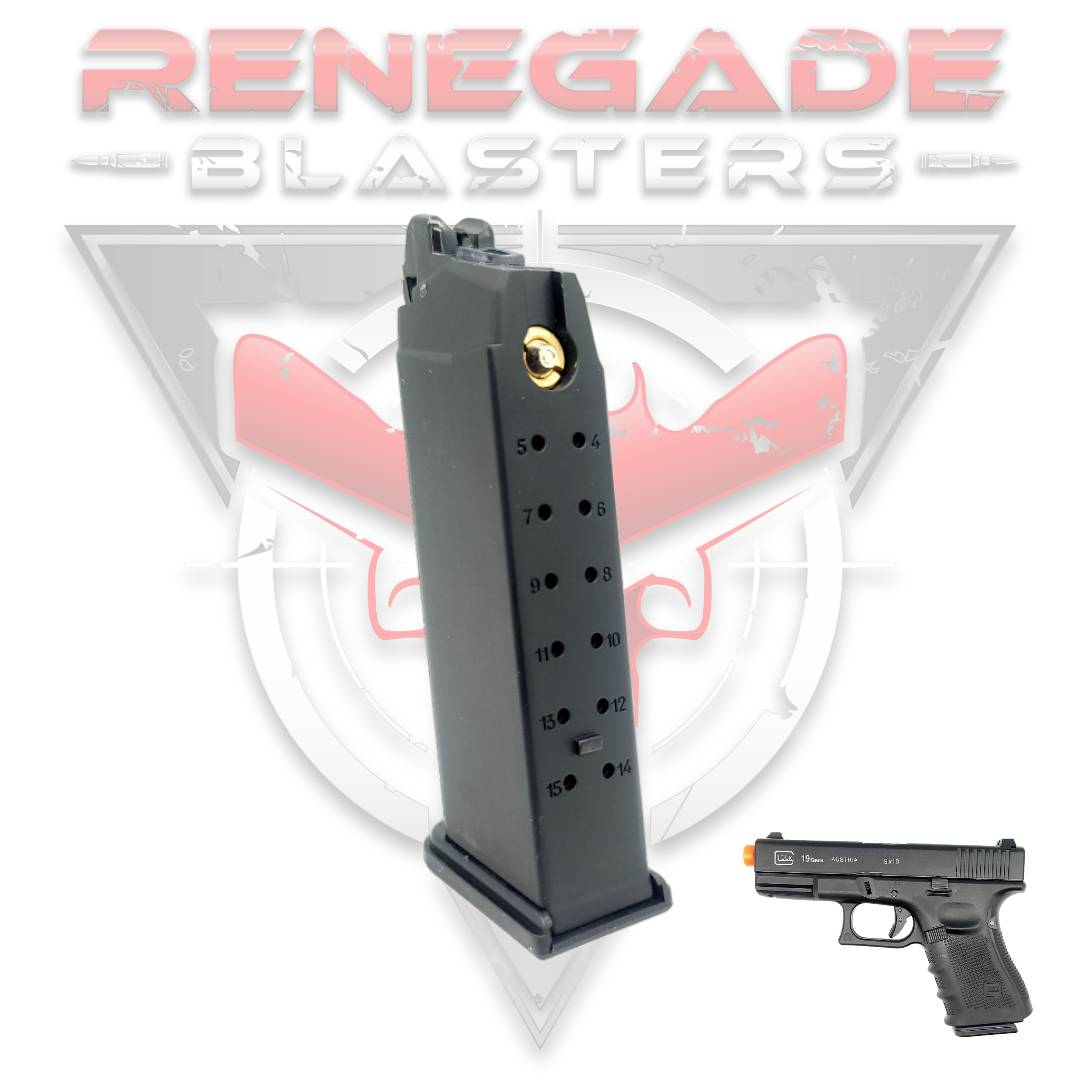 Magazine for DB Glock 19 (Green Gas Gel Blasters) Renegade Blasters
