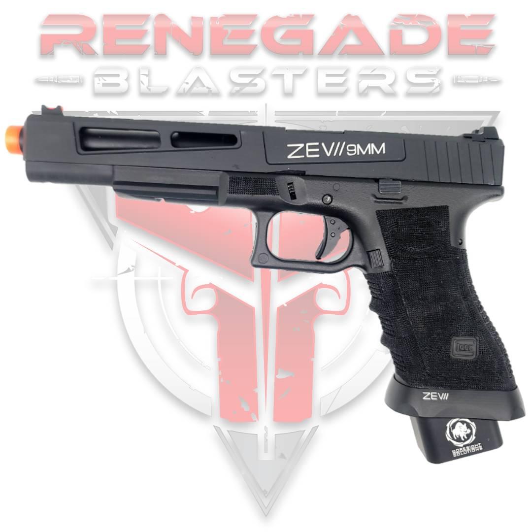 DOUBLE BELL Glock G17L ZEV II 9mm Combat Master Custom Gas Powered Gel Blaster [762] Renegade Blasters